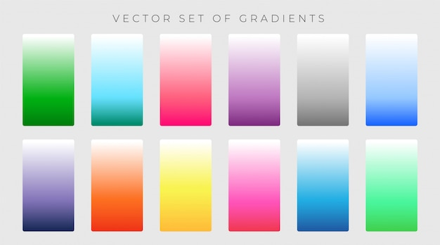 Conjunto vibrante de ilustração em vetor gradientes coloridos