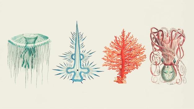 Conjunto vintage de adesivos coloridos de animais marinhos