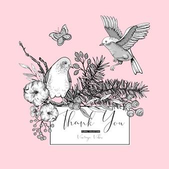 Conjunto vintage de cartão floral primavera, com pássaros, ramos de abeto, algodão, flores e borboletas