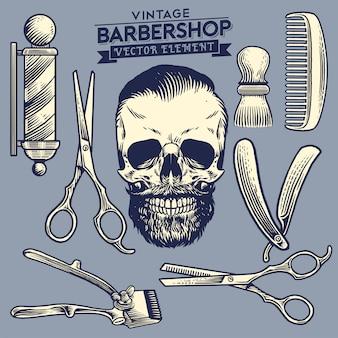 Conjunto vintage de conceito de barbearia de caveira