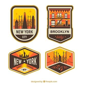 Conjunto vintage de emblemas de nova iorque