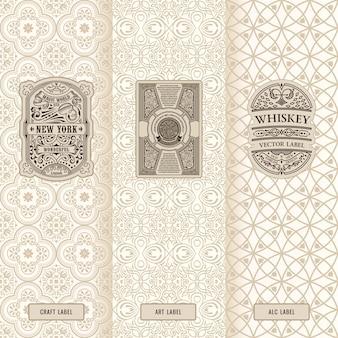 Conjunto vintage de logotipos de rótulos de design e molduras de embalagem de luxo
