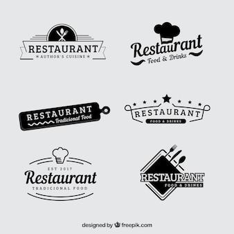 Conjunto vintage de logotipos retros de restaurantes