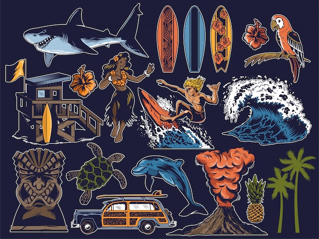 Conjunto vintage de objetos de paraíso de verão com onda, golfinho, tartaruga, surfista, palmas das mãos, carro antigo de viagem, garota hula, tubarão, pranchas de surf, papagaio, vulcão, máscara de tiki, casa de praia.