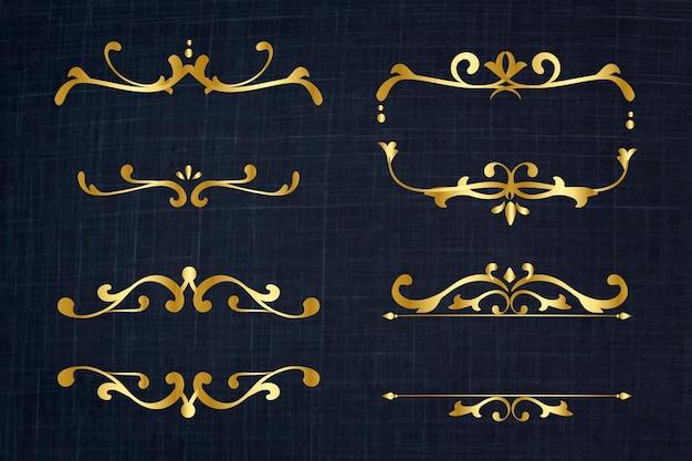 Conjunto vintage de ornamentos de ouro com moldura elegante