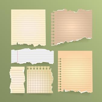 Conjunto vintage de papel rasgado