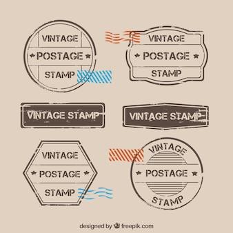 Conjunto vintage de selos postais