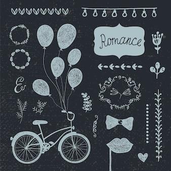 Conjunto vintage de vetor de elementos de design romântico de mão desenhada, coleção de convite de casamento. flores, molduras, corações
