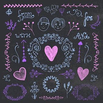 Conjunto vintage de vetor de elementos de design romântico de mão desenhada coleção de convite de casamento