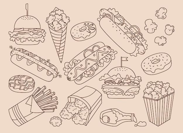 Conjunto vintage desenhado à mão de fast food
