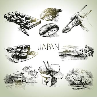 Conjunto vintage japonês desenhado à mão