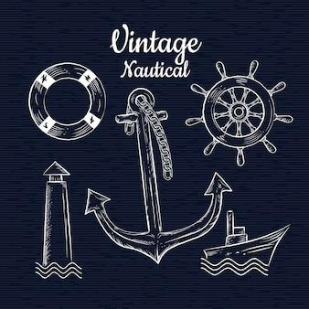 Conjunto vintage mão desenhada ilustração vetorial de nautica