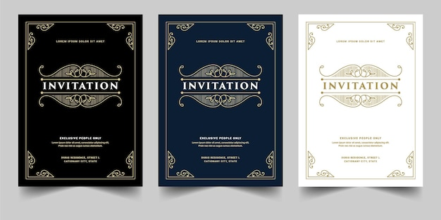 Conjunto vintage royal e luxo de cartão de convite