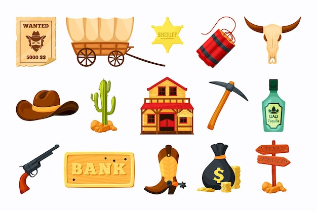 Conjunto west wild com ilustração de vários itens