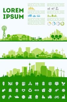 Conjuntos coloridos de skyline da cidade, distritos de cidade banners