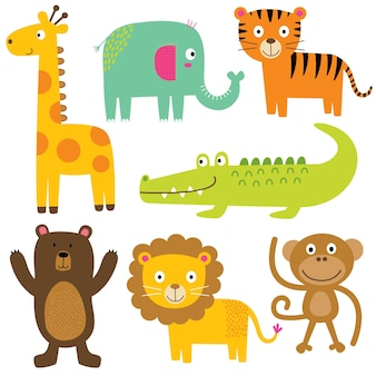 Conjuntos de animal fofo personagem de desenho animado animal zoo