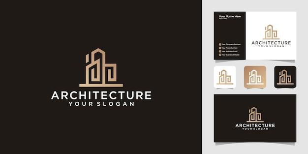 Conjuntos de arquitetura de construção, modelo de design de logotipo de imóveis e cartão de visita