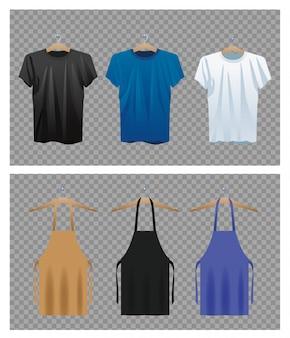 Conjuntos de aventais e camisas