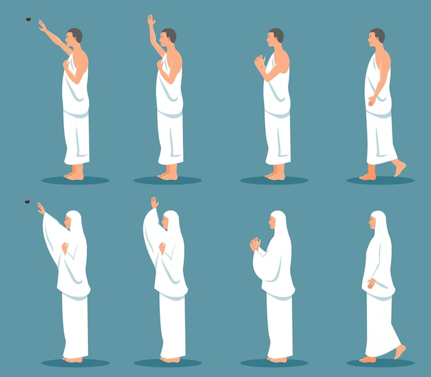 Conjuntos de caráter moderno de peregrinação de hajj de vista lateral.