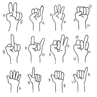 Conjuntos de coleção de doodle de tema de linguagem gestual em fundo branco isolado, ilustração vetorial