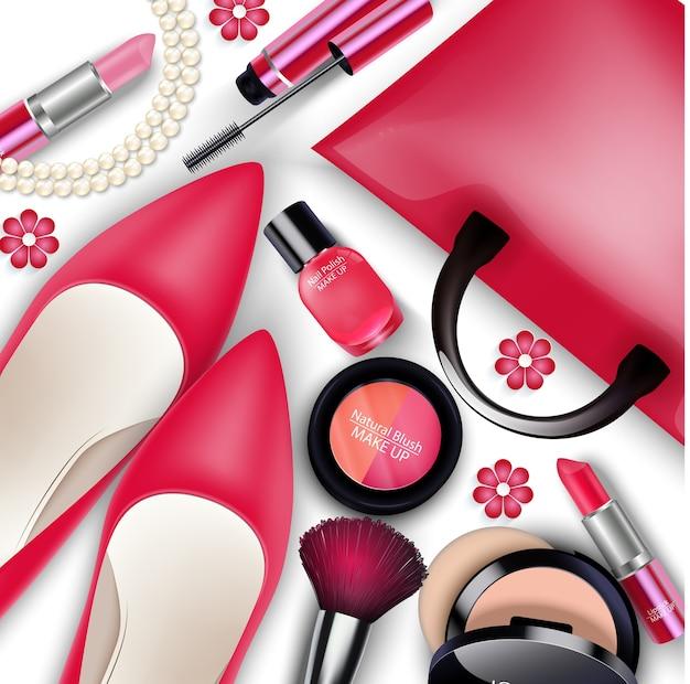 Conjuntos de cosméticos e material feminino isolado