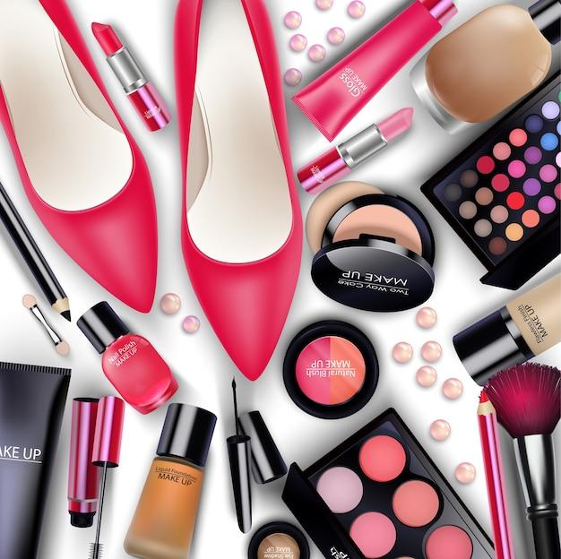 Conjuntos de cosméticos no fundo branco