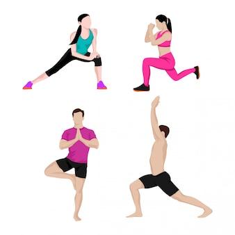 Conjuntos de design de homens e mulheres se exercitando
