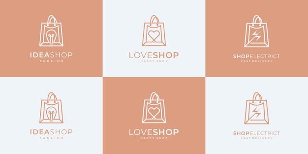 Conjuntos de design de logotipo de compras de coleção.