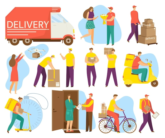 Conjuntos de elementos de desenho animado para serviço de entrega