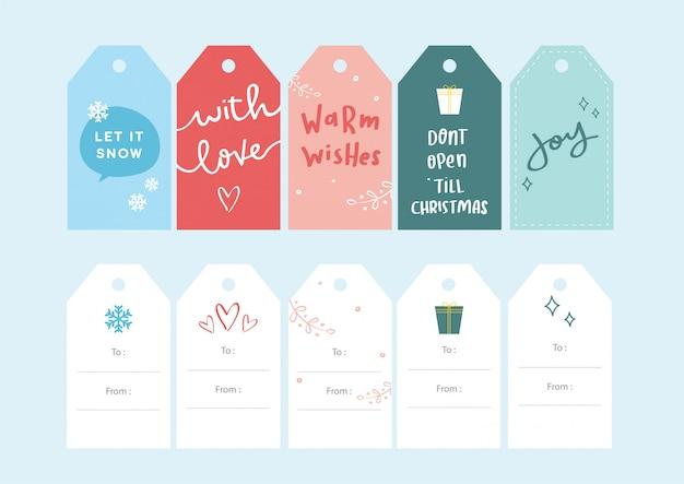 Conjuntos de etiquetas de presente de natal - adorável