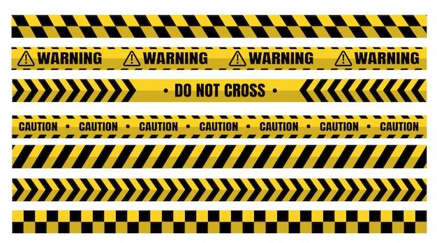 Conjuntos de fitas de advertência perigosas devem ter cuidado com a construção e o crime.