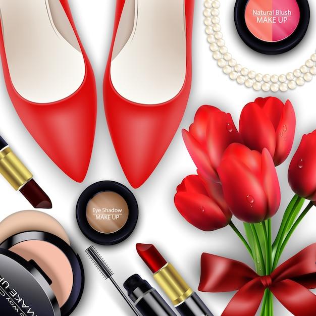 Conjuntos de fundo de cosméticos com tullips vermelhos
