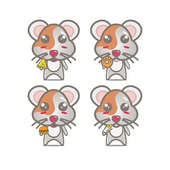Conjuntos de hamster de coleção segurando comida mascote de personagem de desenho animado de ilustração vetorial