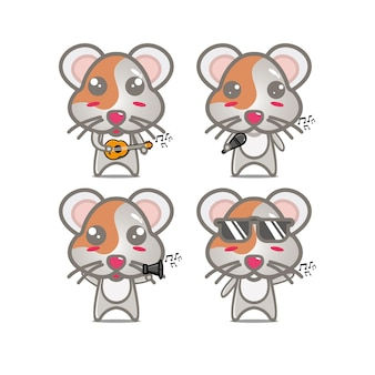 Conjuntos de hamster de coleção segurando instrumentos musicaisvector ilustração estilo simples personagem de desenho animado