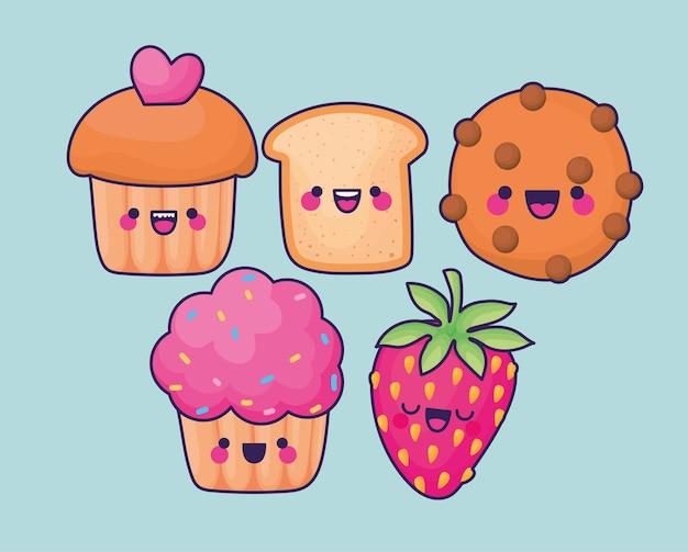 Conjuntos de ícones de alimentos kawaii.