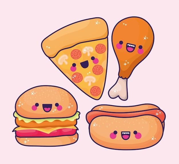 Conjuntos de ícones de fast food kawaii.