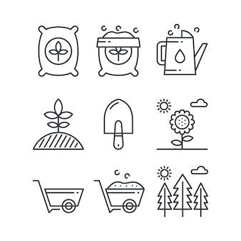 Conjuntos de ícones de fertilizantes de linha simples