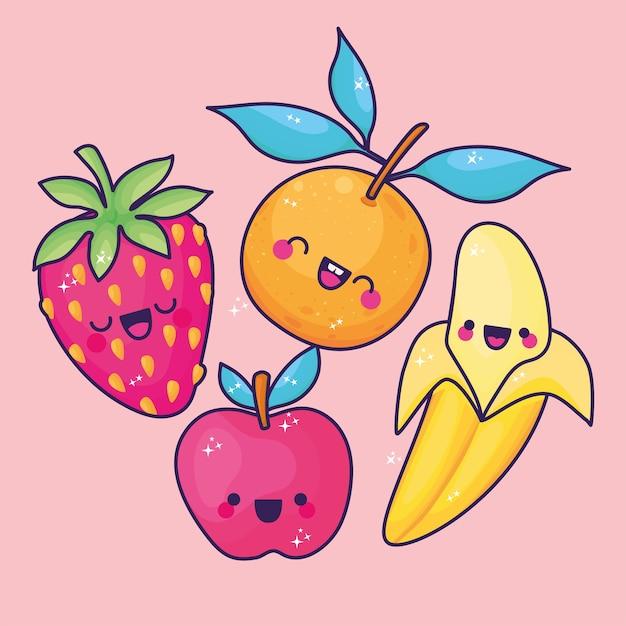 Conjuntos de ícones de frutas kawaii.