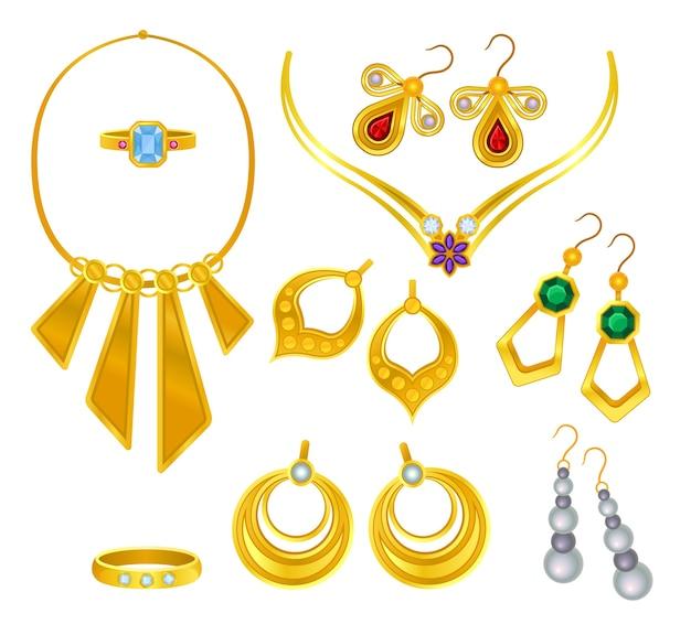 Conjuntos de joias de ouro isoladas em branco