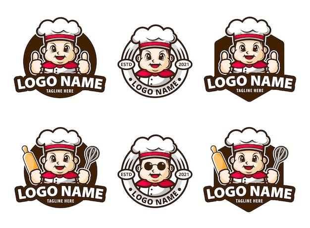 Conjuntos de logotipos de chef gordo