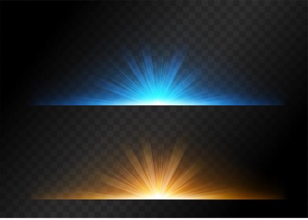 Conjuntos de luz das estrelas com cor amarela e azul