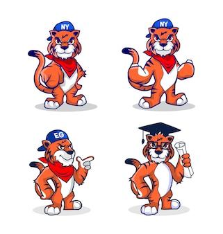 Conjuntos de mascote de tigre de desenho animado