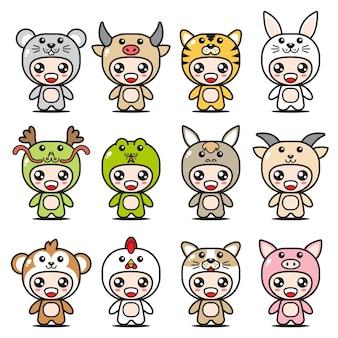 Conjuntos de mascotes fofos do zodíaco chinês