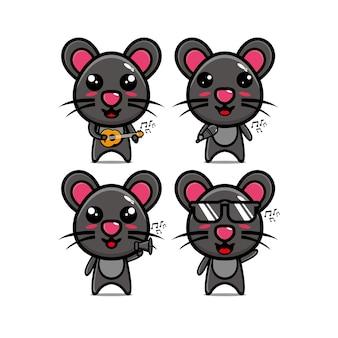 Conjuntos de mouse de coleção segurando instrumentos musicais personagem de desenho animado estilo simples de ilustração vetorial