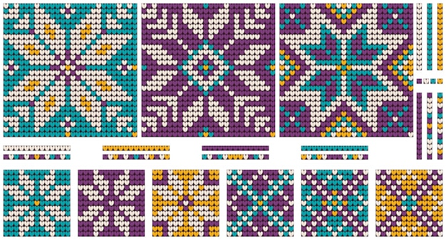 Conjuntos de natal da vovó de padrões de tricô