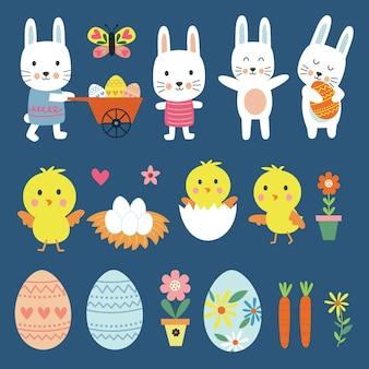 Conjuntos de personagens fofinhos da páscoa pintinhos e coelhinhos