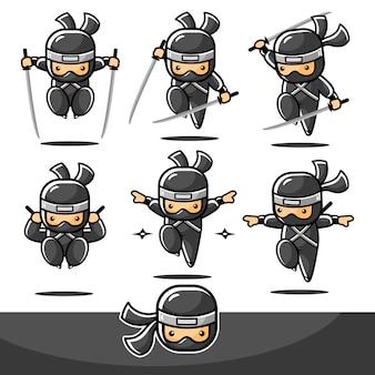 Conjuntos de salto ninja de desenho animado preto com seis ações diferentes