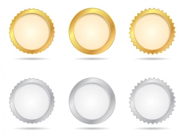 Conjuntos de selo de ouro e prata