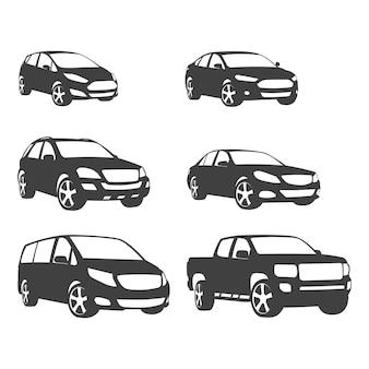Conjuntos de silhueta de carros e ícone de veículo rodoviário em plano de fundo isolado