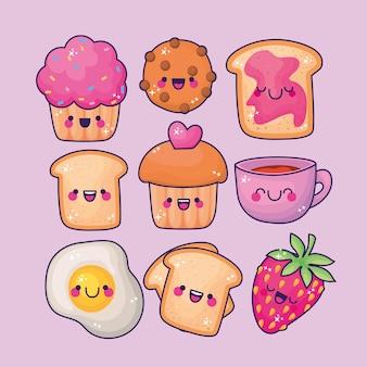 Conjuntos de todos os ícones de alimentos kawaii de tipos.